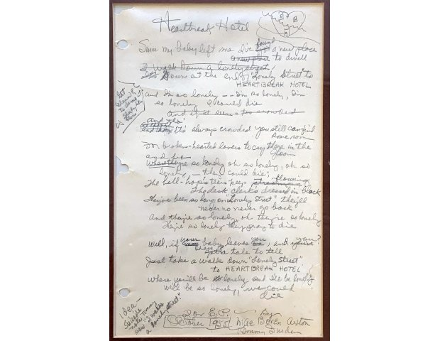 Original Handwritten Lyrics to the 1956 Elvis Presley Hit Song Heartbreak Hotel will be Auctioned November 19th-20th