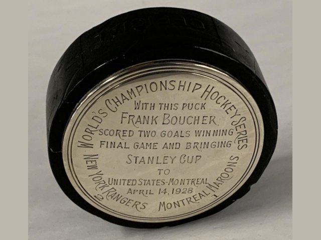 Hockey Puck from The Stanley Cup Final Game of 1928, Won by The New York Rangers, 2-1, Brings $66,000 at Weiss Auctions
